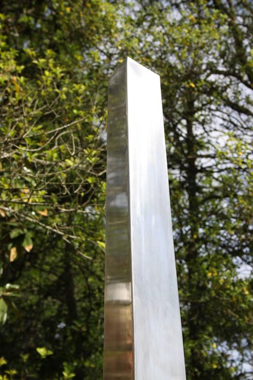 Large Stainless Steel Triangular Obelisk Sculpture, Garden or Yard For Sale 3