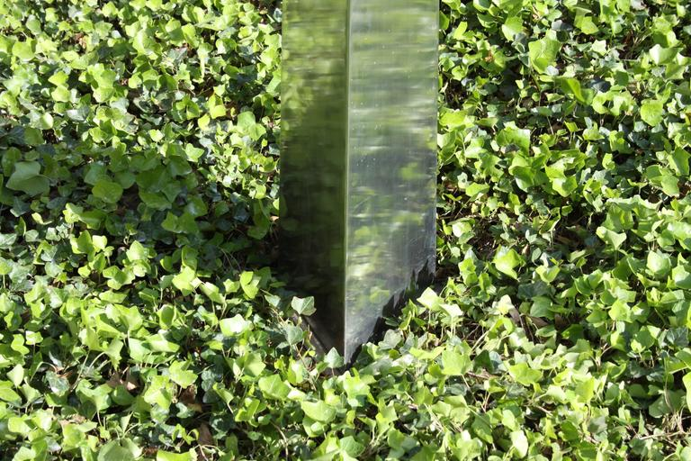 Late 20th Century Large Stainless Steel Triangular Obelisk Sculpture, Garden or Yard For Sale