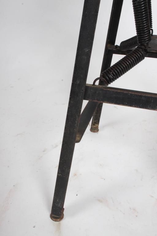 Early 20th Century American Cabinet Co. Industrial Architects Drafting Spring Stool For Sale