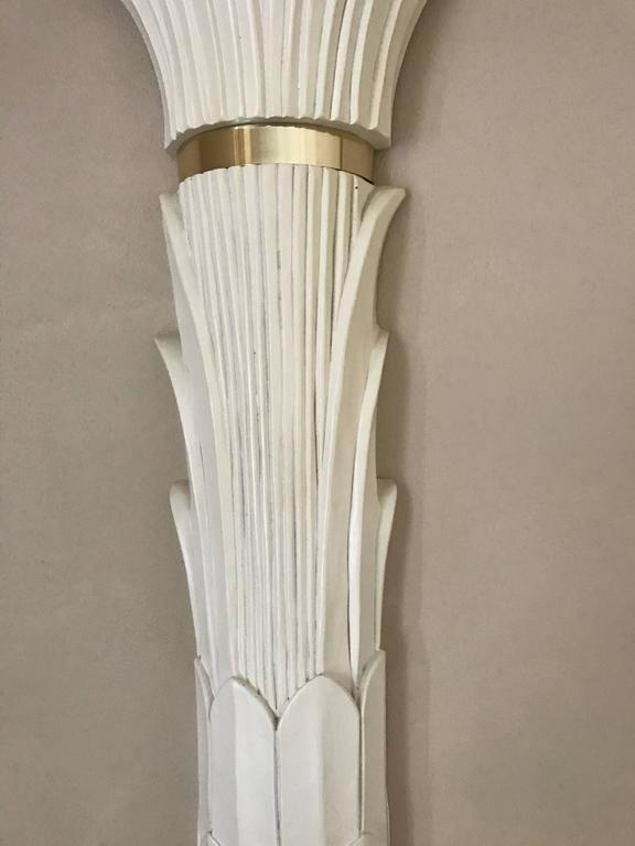 Pair of Serge Roche Style Sconces in Stylized Palm Motif In Good Condition For Sale In St. Louis, MO