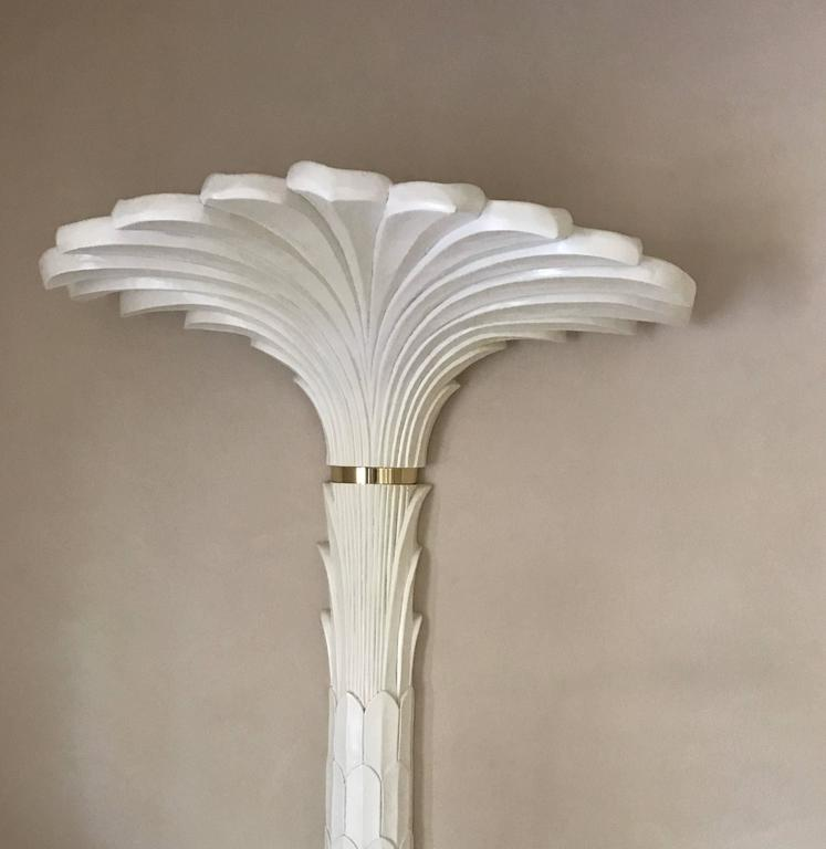 Late 20th Century Pair of Serge Roche Style Sconces in Stylized Palm Motif For Sale