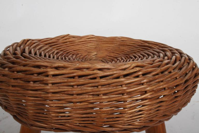 Tony Paul Wicker Rattan Stool Circa 1950s For Sale At 1stdibs
