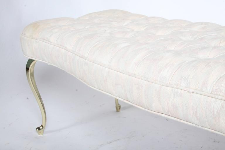 Plated Hollywood Regency Tufted Bench with Brass Legs For Sale
