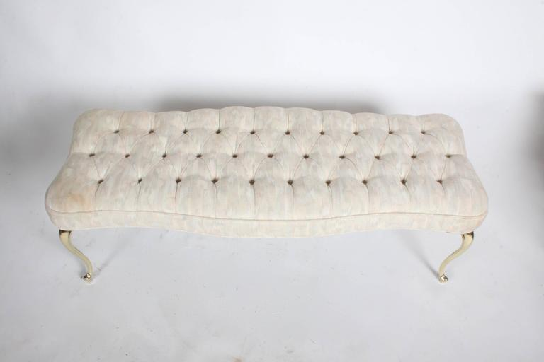 Hollywood Regency Tufted Bench with Brass Legs In Excellent Condition For Sale In St. Louis, MO
