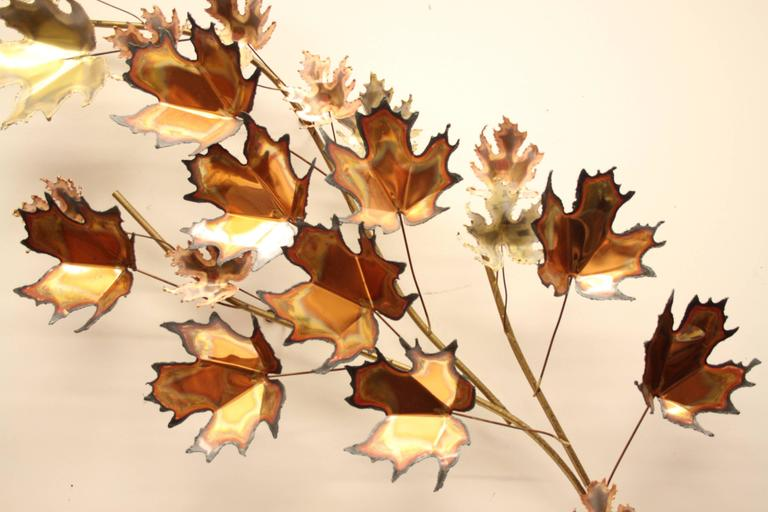 Mid-Century Modern Curtis Jere' Maple Leaf Tree Wall Sculpture Signed, 1971 For Sale