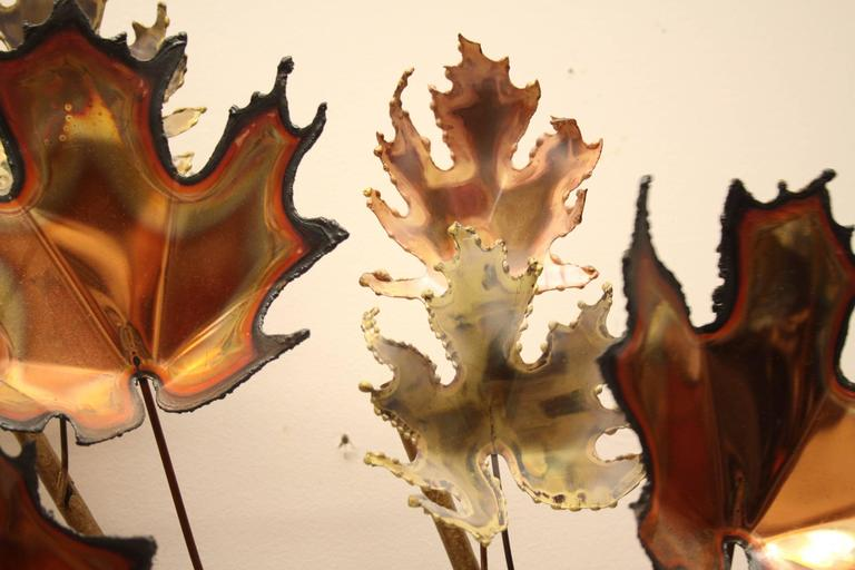 Brass Curtis Jere' Maple Leaf Tree Wall Sculpture Signed, 1971 For Sale