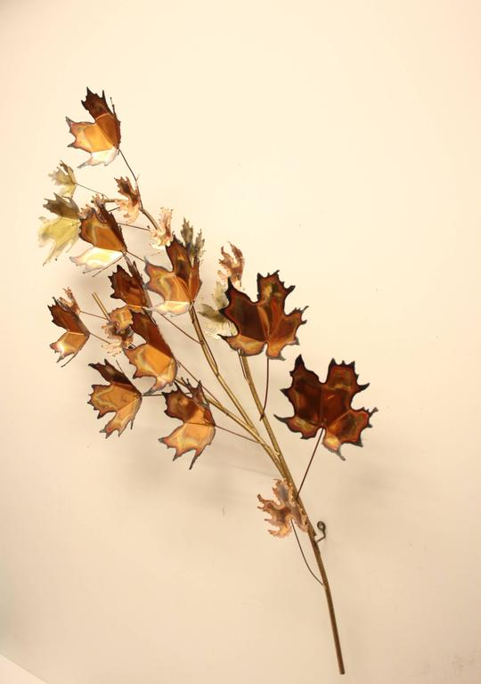 Curtis Jere' Maple Leaf Tree Wall Sculpture Signed, 1971 In Excellent Condition For Sale In St. Louis, MO