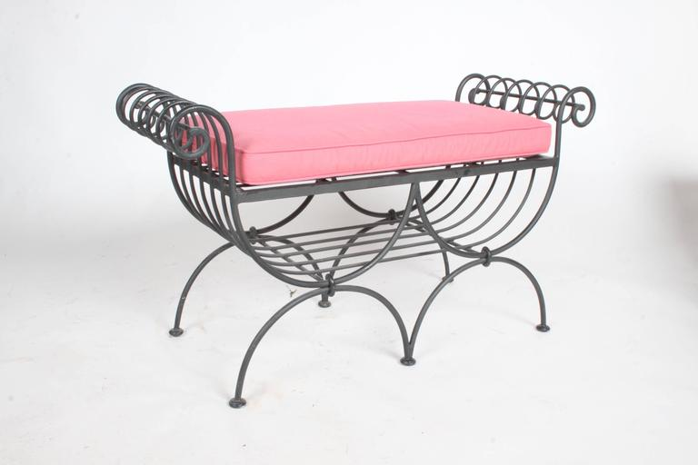Italian Wrought Iron Scroll Arm Bench For Sale At 1stdibs