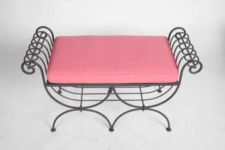 Mid-20th Century Hollywood Regency Italian Black Wrought Iron Double Scroll Arm Bench - Pink Seat For Sale