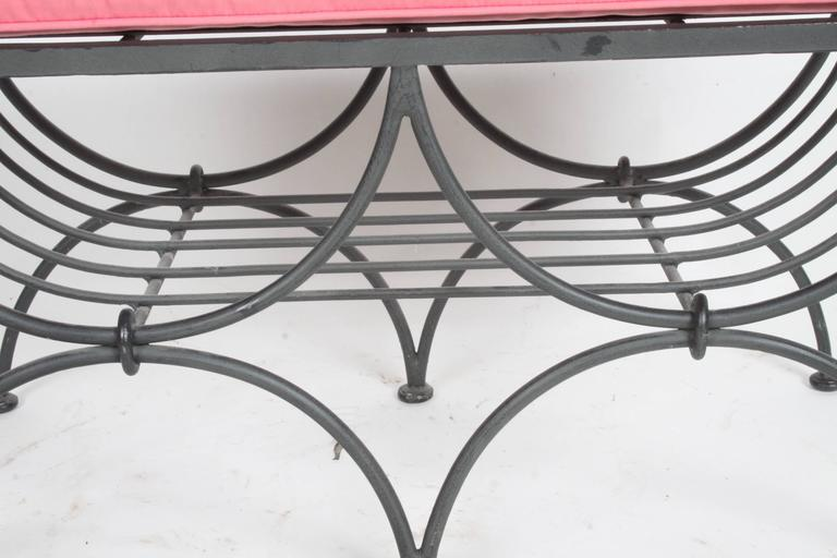 Hollywood Regency Italian Black Wrought Iron Double Scroll Arm Bench - Pink Seat For Sale 1