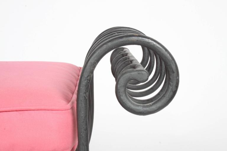 Hollywood Regency Italian Black Wrought Iron Double Scroll Arm Bench - Pink Seat For Sale 2