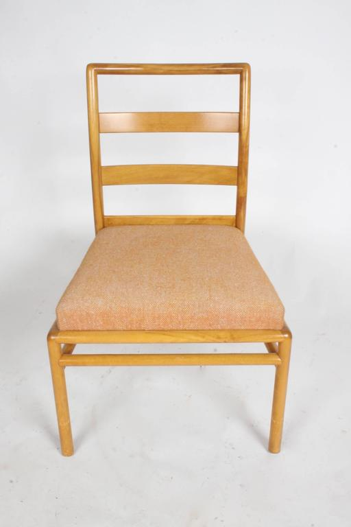 T.H. Robsjohn - Gibbings for Widdicomb single ladder back dining or desk chair in original finish and upholstery. Can be refinished dark like my other listing for a set of four. Item # U0805138202460. Minor wear to finish.