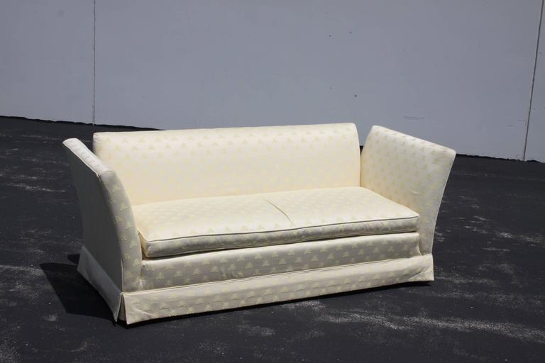 Baker Furniture Knole Open-Arm Settee or Loveseat Sofa In Excellent Condition For Sale In St. Louis, MO