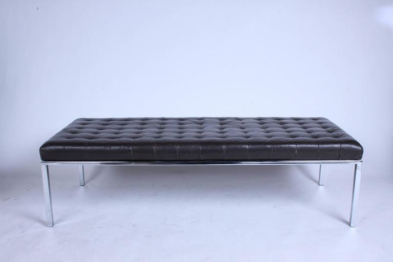 Museum Bench by Metropolitan, San Francisco with Brown Tufted Leather Seat For Sale 3