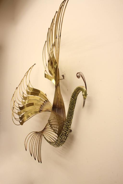 Mid-Century Modern Curtis C. Jere Brass Peacock Wall Sculpture For Sale