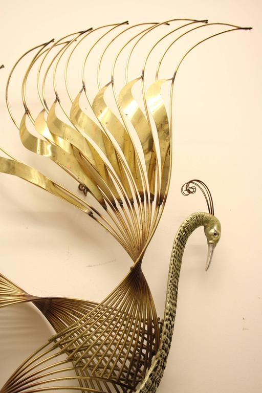 North American Curtis C. Jere Brass Peacock Wall Sculpture For Sale