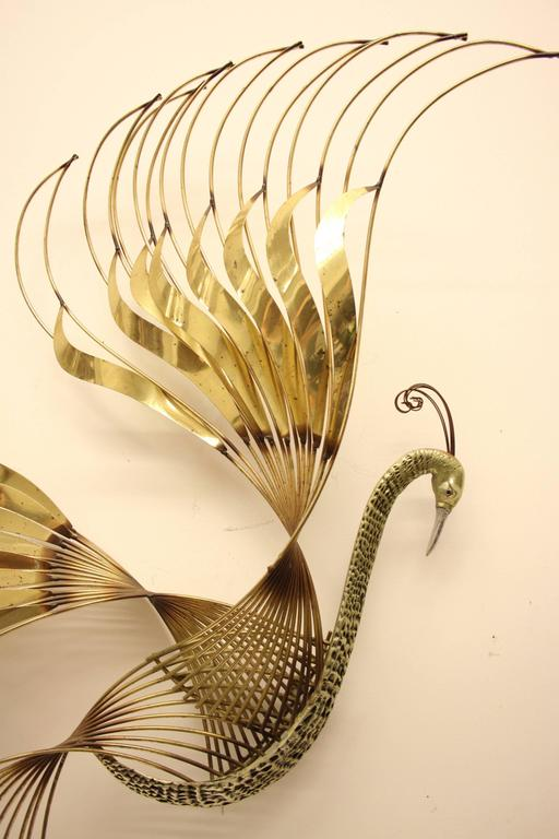 Curtis C. Jere Brass Peacock Wall Sculpture In Excellent Condition For Sale In St. Louis, MO