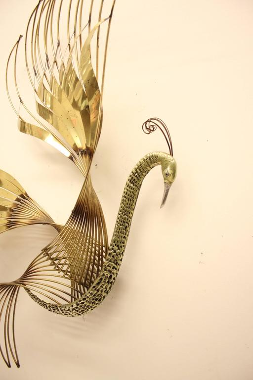 Curtis C. Jere Brass Peacock Wall Sculpture For Sale 1