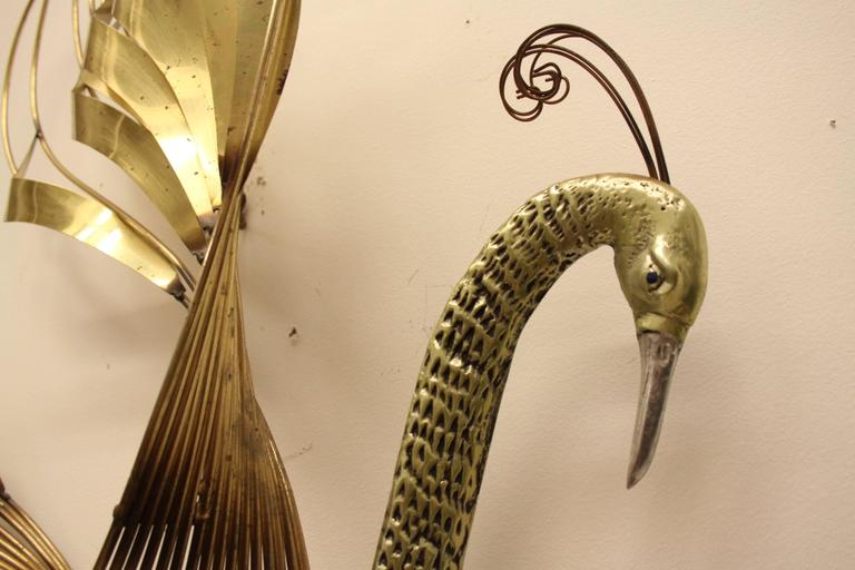 Curtis C. Jere Brass Peacock Wall Sculpture For Sale 2