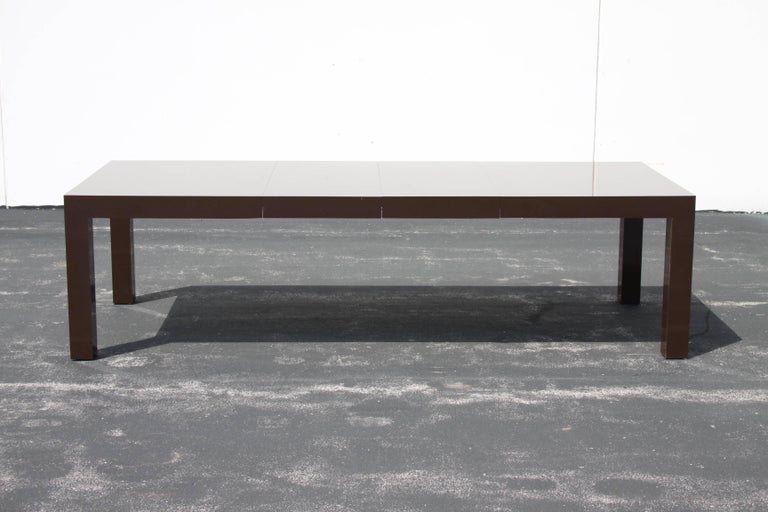 Milo Baughman for Thayer Coggin large chocolate laminae Parsons dining table with two 20