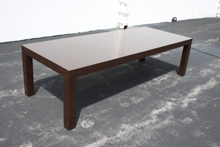 American Milo Baughman for Thayer Coggin Large Parsons Dining Table with Two Leaves For Sale