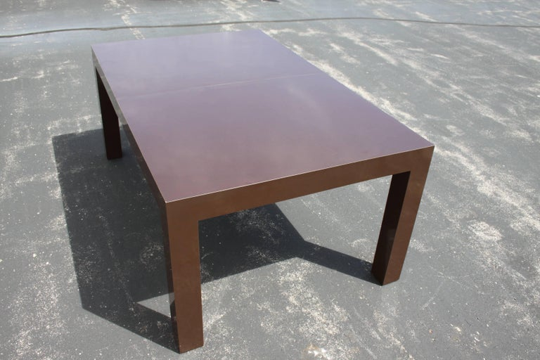 Milo Baughman for Thayer Coggin Large Parsons Dining Table with Two Leaves In Good Condition For Sale In St. Louis, MO