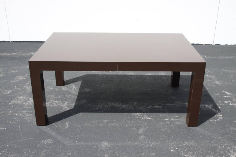 Milo Baughman for Thayer Coggin Large Parsons Dining Table with Two Leaves For Sale 1