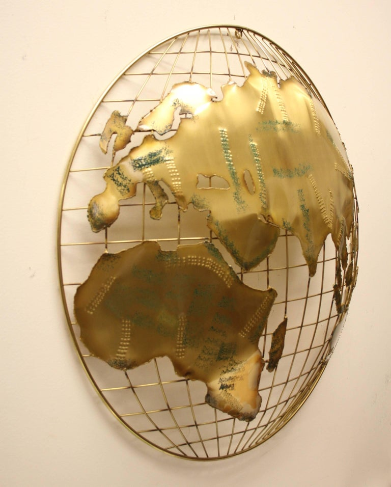 North American Pair of C. Jere Brass Globe Sphere Wall Sculptures, circa 1984 For Sale