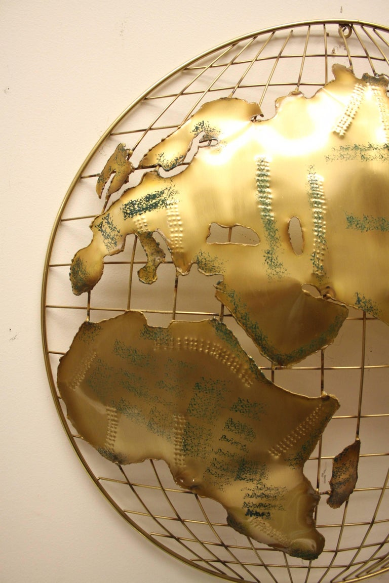 Late 20th Century Pair of C. Jere Brass Globe Sphere Wall Sculptures, circa 1984 For Sale
