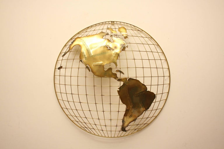 Mid-Century Modern Pair of C. Jere Brass Globe Sphere Wall Sculptures, circa 1984 For Sale