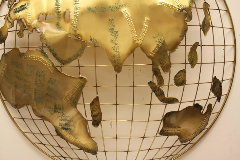 Pair of C. Jere Brass Globe Sphere Wall Sculptures, circa 1984 For Sale 1