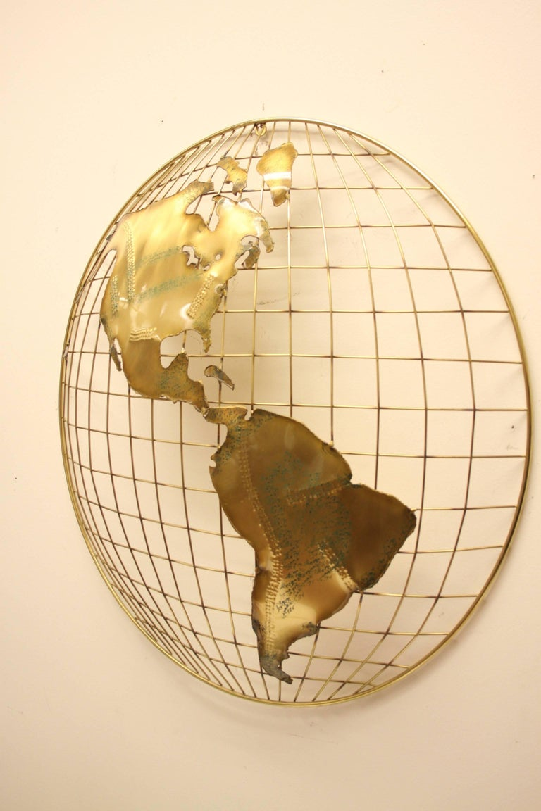 Pair of C. Jere Brass Globe Sphere Wall Sculptures, circa 1984 In Excellent Condition For Sale In St. Louis, MO