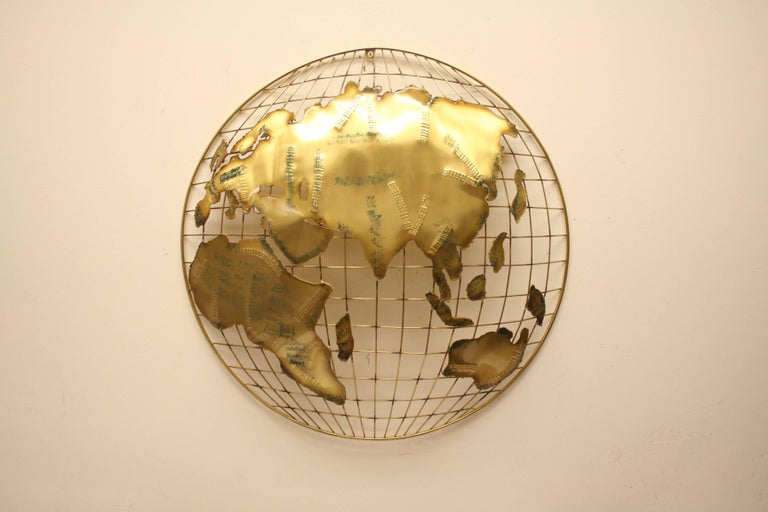 Pair of C. Jere Brass Globe Sphere Wall Sculptures, circa 1984 For Sale 4