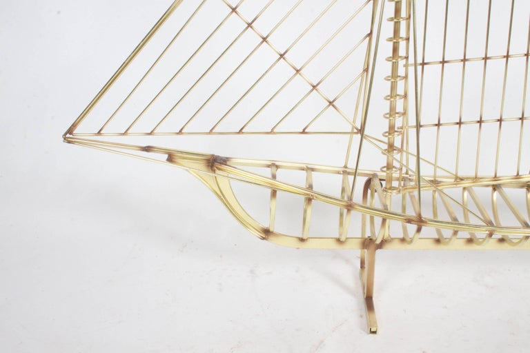 Curtis Jere Large Brass Ship Sculpture Signed, 1976 For Sale 1