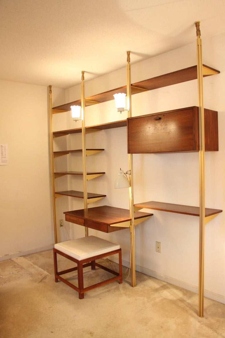 George Nelson Midcentury Storage Wall Unit Bookcase and Desk for ...