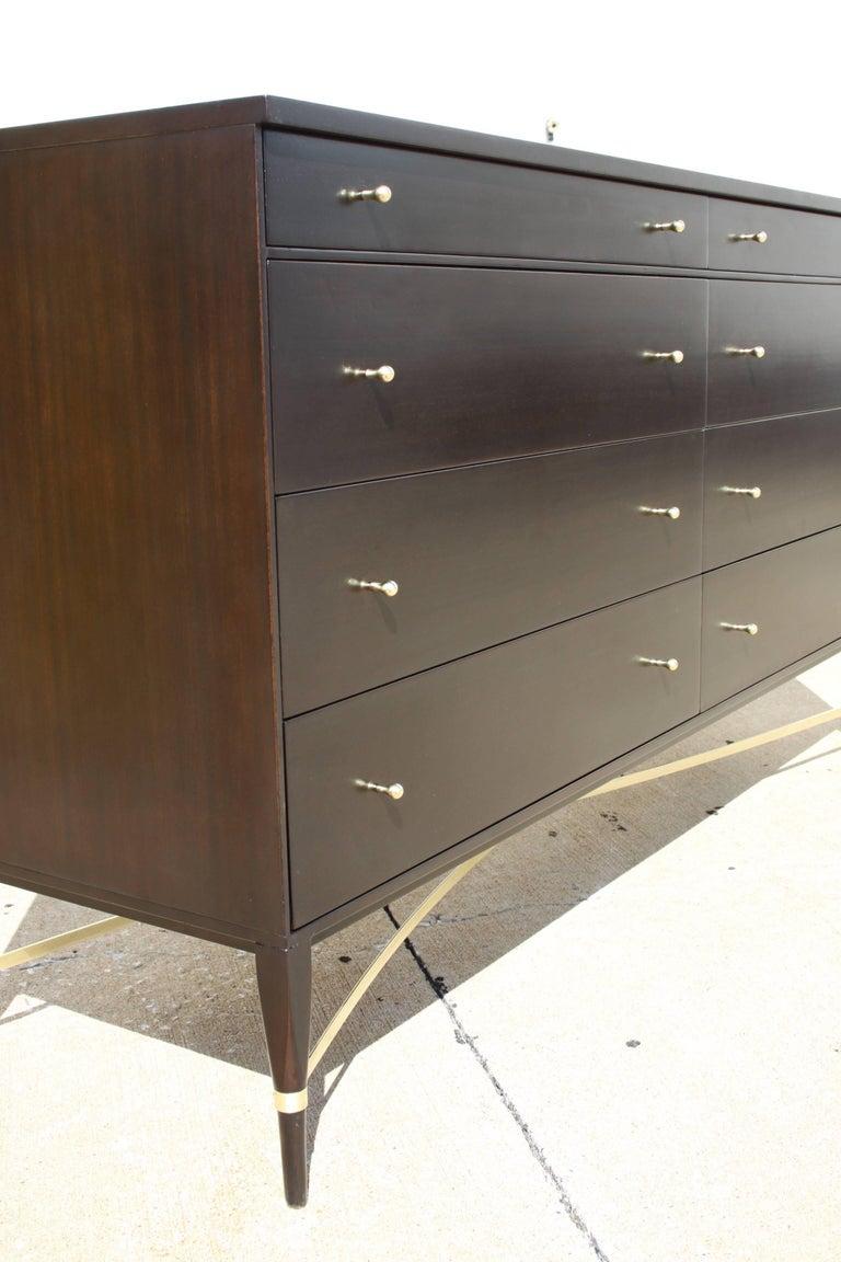 Mahogany Paul McCobb for Calvin Brass X-Base Eight-Drawer Dresser For Sale