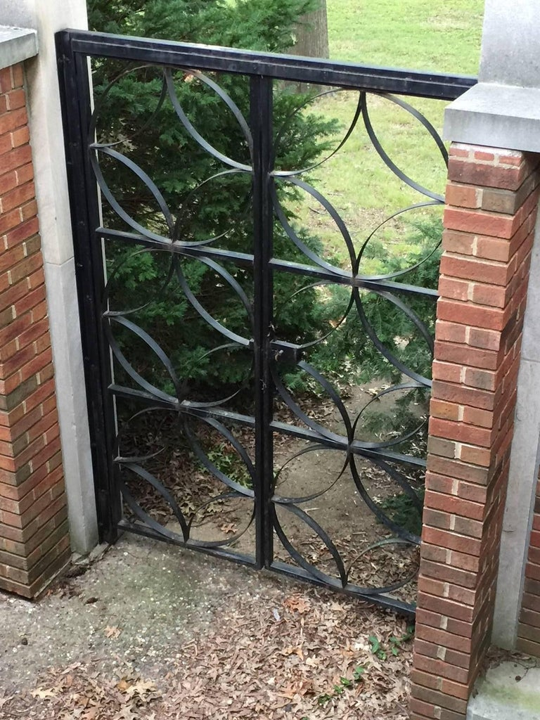 American Large Midcentury Wrought Iron Architect Designed Garden Gate For Sale