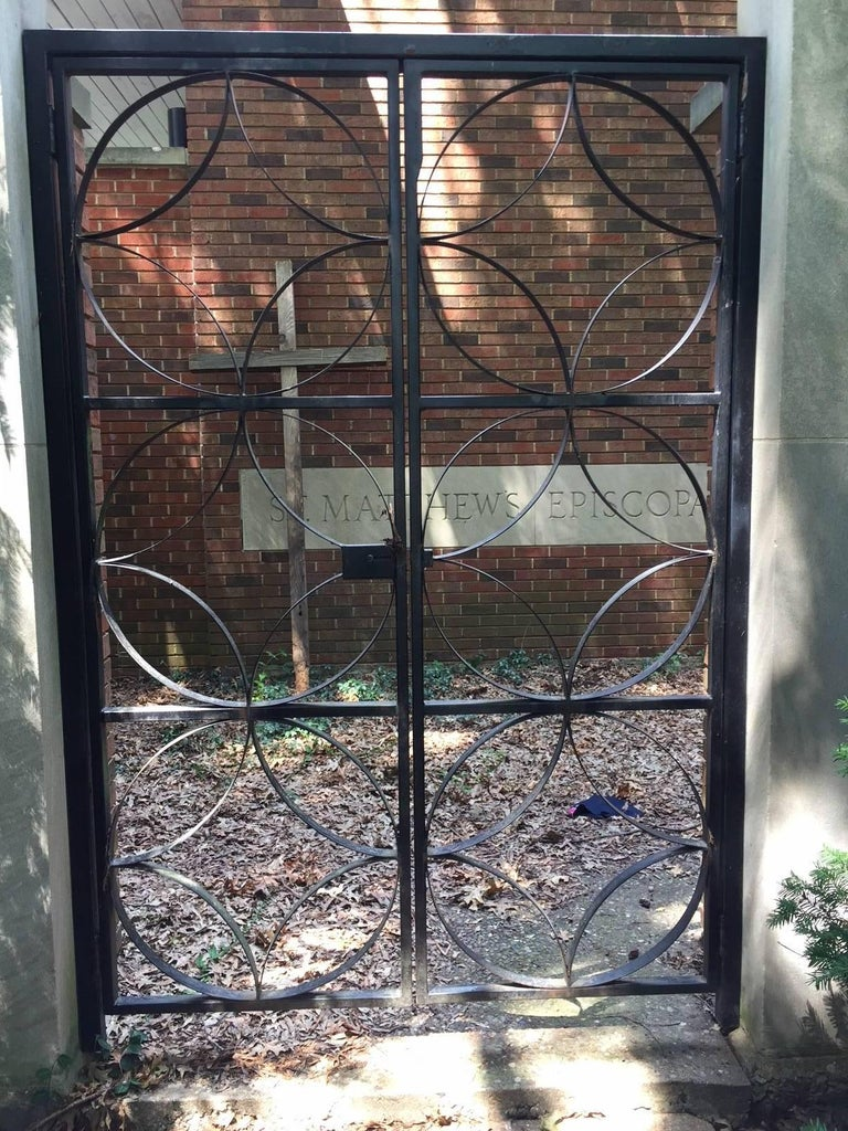 Mid-Century Modern Large Midcentury Wrought Iron Architect Designed Garden Gate For Sale
