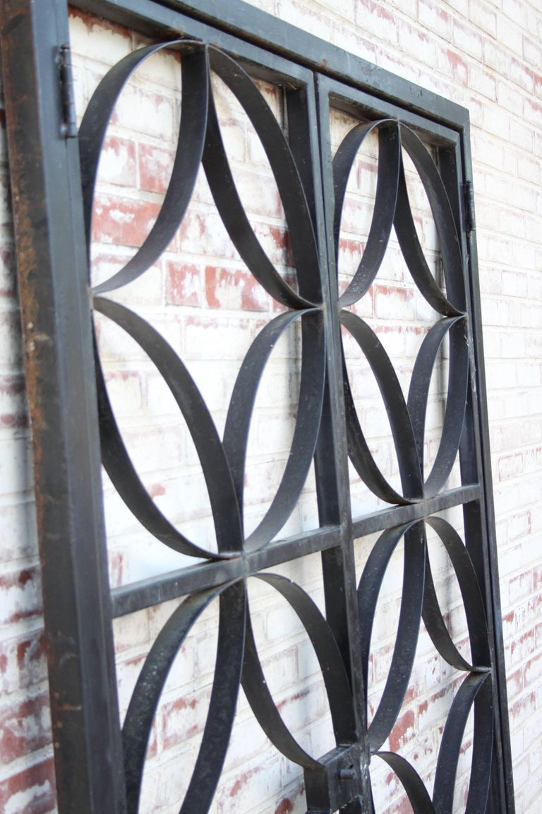 Large Midcentury Wrought Iron Architect Designed Garden Gate For Sale 2