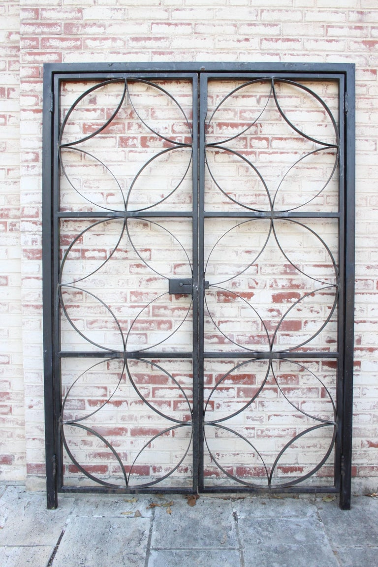 Large Midcentury Wrought Iron Architect Designed Garden Gate For Sale 4