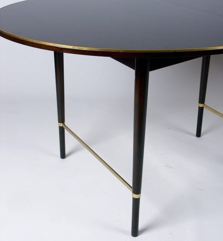 Mid-Century Modern Large Paul McCobb Oval Mahogany and Brass Dining Table with Six Leaves For Sale