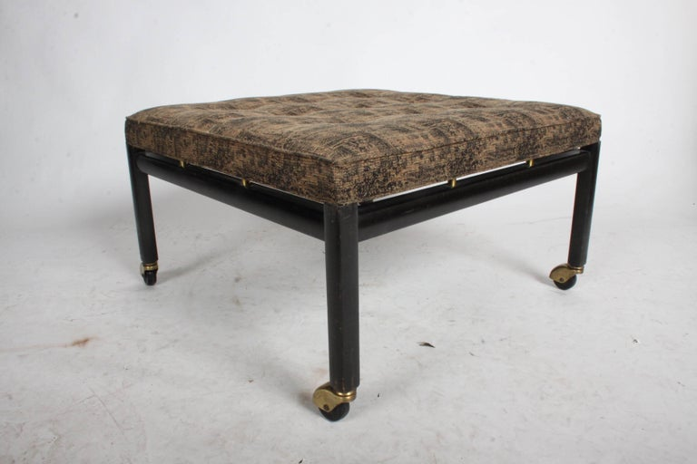Mid-20th Century Michael Taylor for Baker Ottoman or Footstool on Brass Casters For Sale