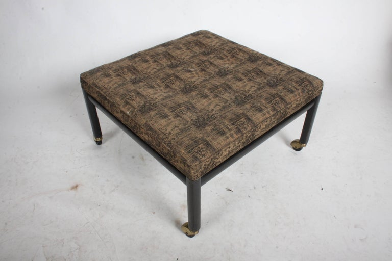 Michael Taylor for Baker Ottoman or Footstool on Brass Casters In Good Condition For Sale In St. Louis, MO