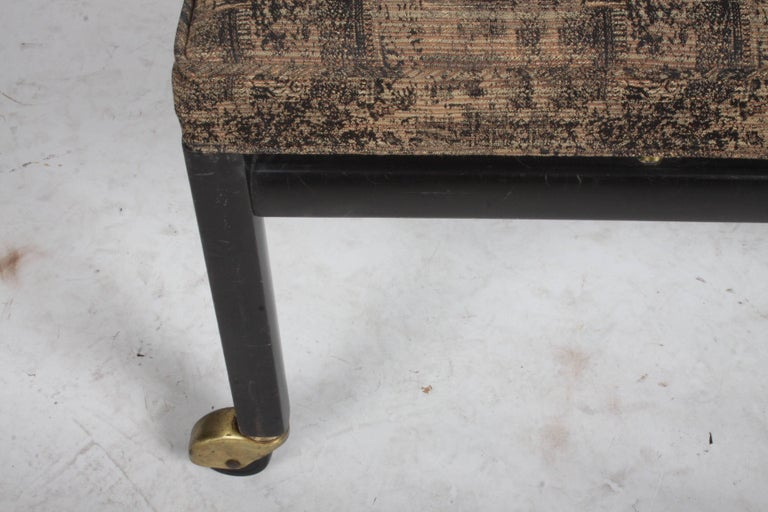 Michael Taylor for Baker Ottoman or Footstool on Brass Casters For Sale 2