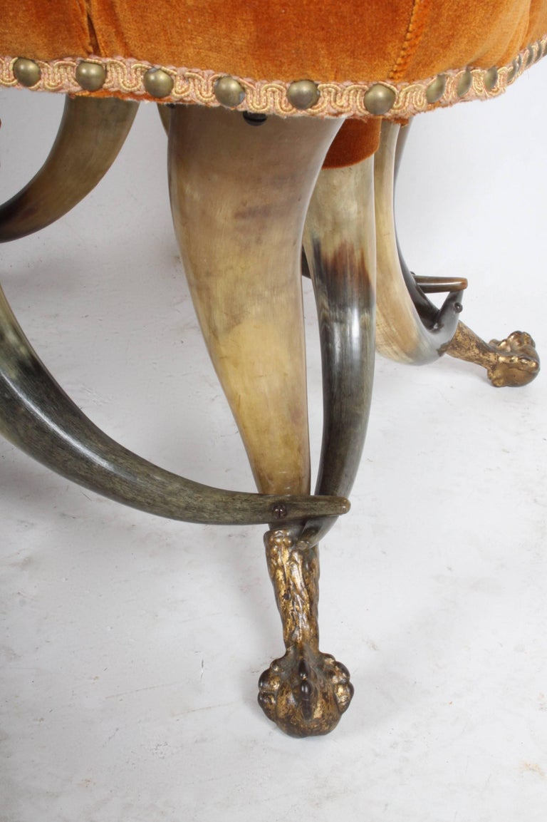 American Craftsman Incredible Late 19th Century Steer Horn Chair and Ottoman For Sale