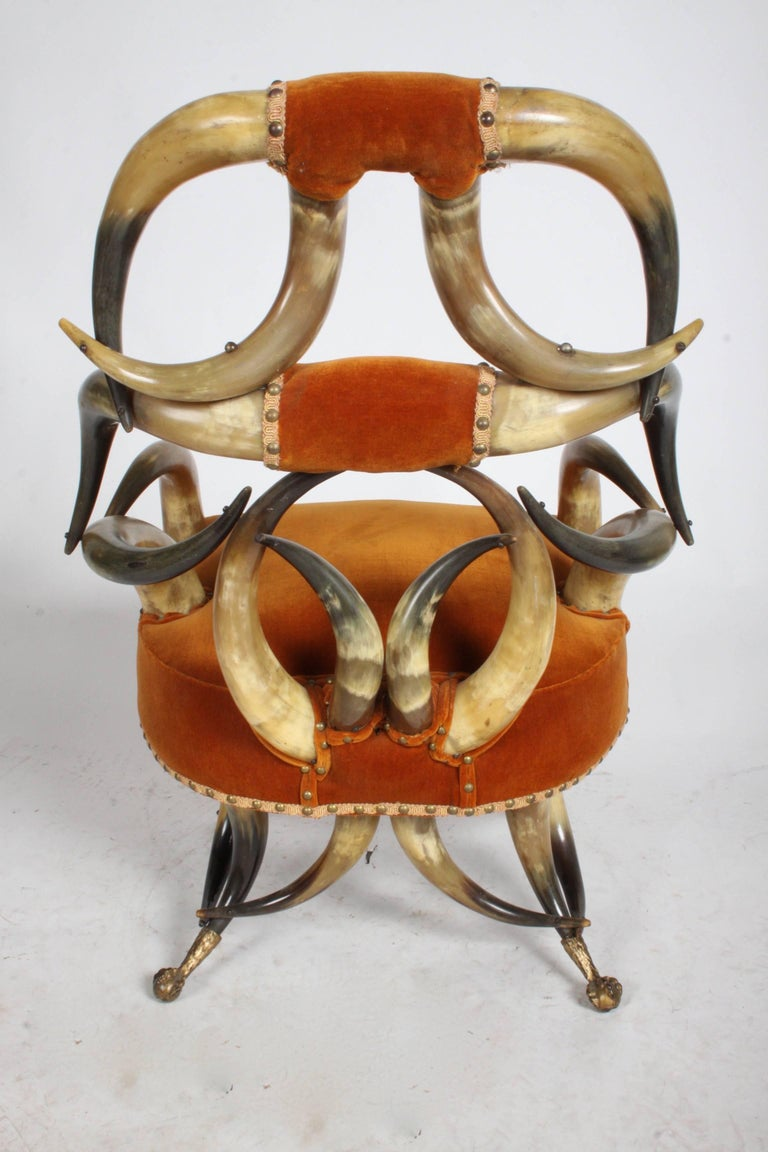 Incredible Late 19th Century Steer Horn Chair and Ottoman For Sale 3