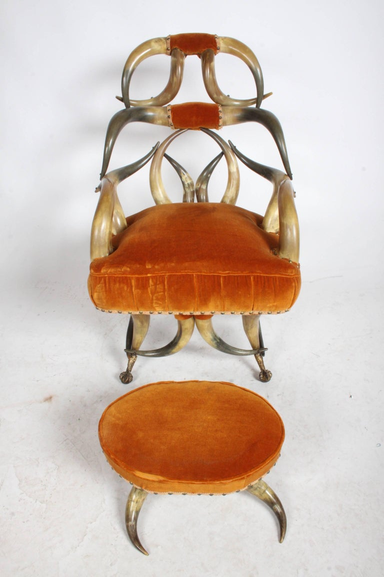 Incredible Late 19th Century Steer Horn Chair and Ottoman For Sale 4