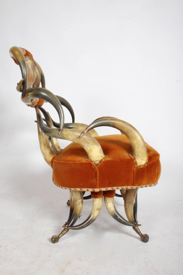 Incredible Late 19th Century Steer Horn Chair and Ottoman For Sale 1