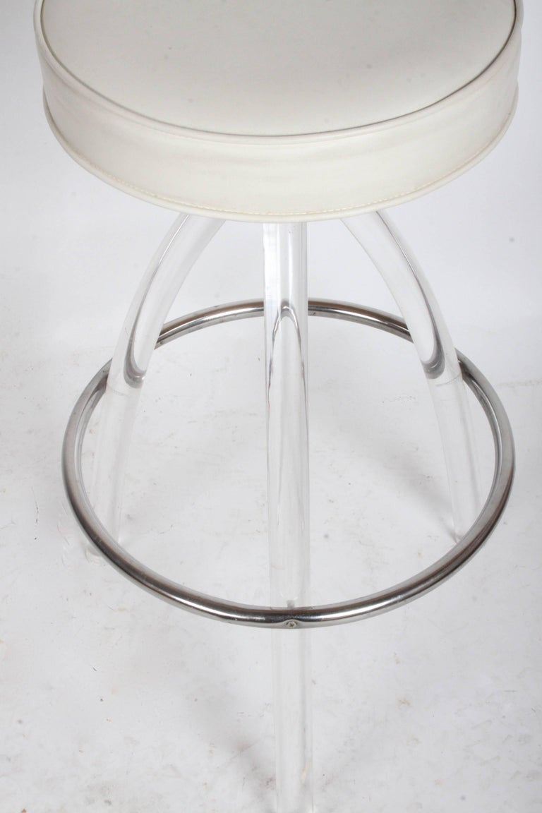 Late 20th Century Set of Three 1970s Lucite Bar Stools For Sale