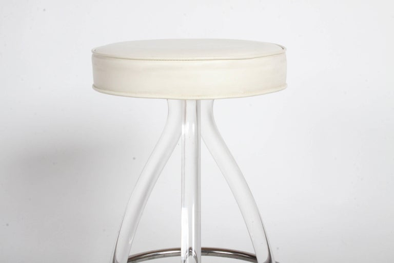 Hollywood Regency Set of Three 1970s Lucite Bar Stools For Sale